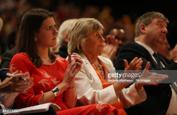 Liberal Democrats deputy leader Jo Swinson and Sir Vince Cable's wife Rachel applaud as the party leader makes his keynote speech at his party's...