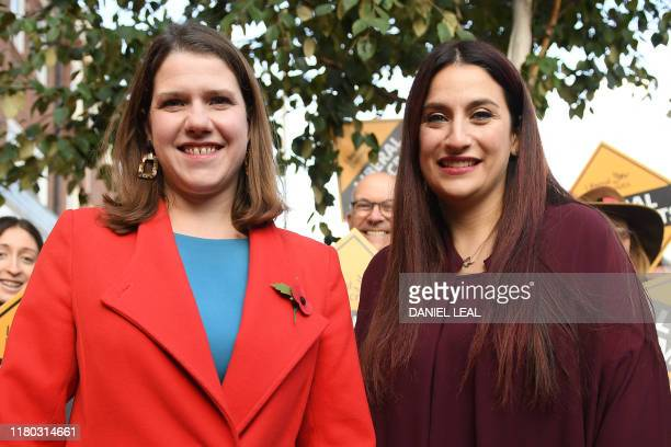Liberal Democrats leader Jo Swinson is greeted by the party's candidate for Finchley and Golders Green Luciana Berger on her arrival for a visit to a...
