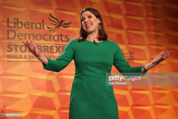 Liberal Democrats leader Jo Swinson launches the Liberal Democrat election manifesto at FEST Camden on November 20 2019 in London England The Liberal...