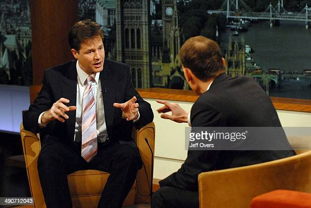 Liberal Democrats leader Nick Clegg gestures whilst being interviewed by Andrew Marr during BBC1s Andrew Marr Show