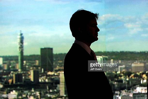 Liberal Democrats leader Nick Clegg in silhouette stands off set in the studio prior to appearing on BBC1s Andrew Marr Show