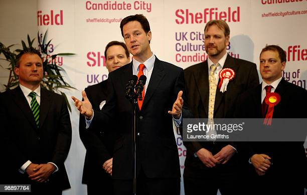 Liberal Democrats Leader Nick Clegg prepares to accept victory in his constituency declaration in the early hours at Ponds Forge International Hall...