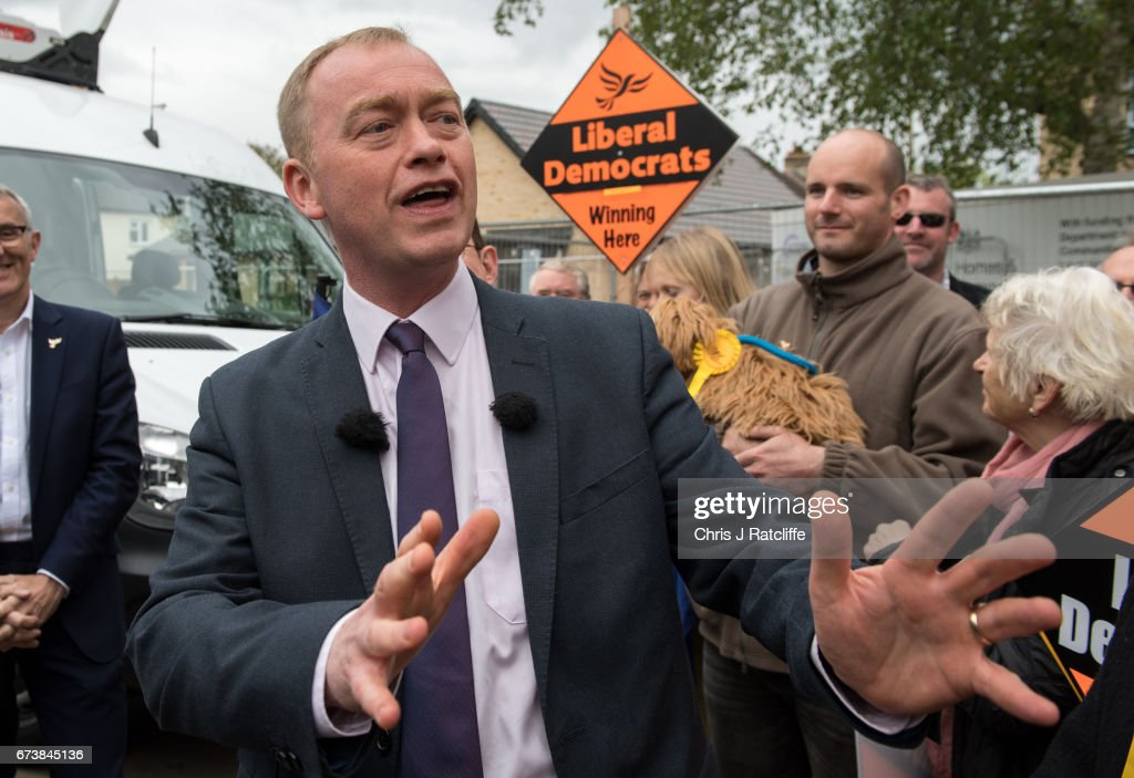 Liberal Democrats leader Tim Farron is seen whilst campaigning for the British general election at Eastfield regeneration site on April 27, 2017 in Cambridge, England. Mr Farron has been campaigning in the Cambridgshire area alongside parliamentary candidate and former MP Julian Huppert, Mayoral candidate Rod Cantrill and cadidate for South Cambridgeshire Susan Van De Ven.