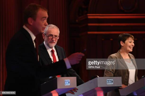 Liberal Democrats leader Tim Farron Labour leader Jeremy Corbyn and Green Party coleader Caroline Lucas take part in the BBC Election Debate hosted...