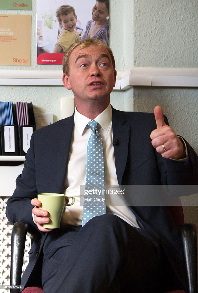 Liberal Democrats leader Tim Farron speaks to staff at the offices of housing charity Shelter on the fourth day of the Liberal Democrats annual conference on September 22, 2015 in Bournemouth, England. The Liberal Democrats are currently holding their annual conference using the hashtag #LibDemfightback in Bournemouth. The conference is the first since the party lost all but eight of its MPs in May's UK general election, however after gaining 20,000 new members since May the party is expecting a record attendance at the event being held at the Bournemouth International Centre.