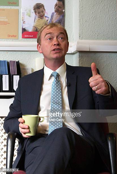 Liberal Democrats leader Tim Farron speaks to staff at the offices of housing charity Shelter on the fourth day of the Liberal Democrats annual...