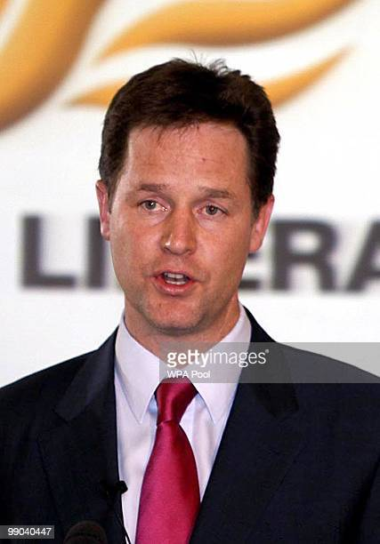 Liberal Democrats party leader Nick Clegg speaks at a press conference after a deal to form a coalition government with the Conservatives was...