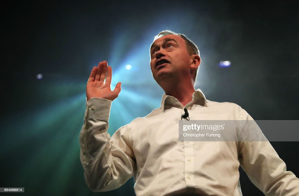 Liberal Democrats party leader, Tim Farron addresses delegates during a rally on the first day of the Liberal Democrats spring conference at York Barbican on March 17, 2017 in York, England. Lib Dem leader Tim Farron is to rally members during the weekend and appeal to voters across the United Kingdom who voted to remain in the EU at the referendum.