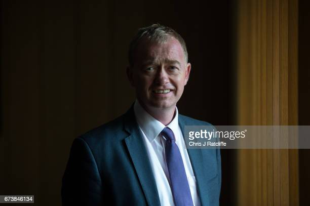 Liberal Democrats party leader Tim Farron poses for a portrait at Melbourn Science Park on April 27 2017 in Cambridge England Mr Farron has been...