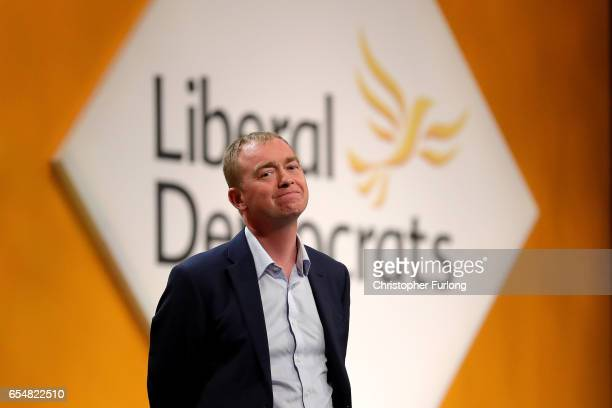 Liberal Democrats party leader Tim Farron takes part in a question and answer session from members on the second day of the Liberal Democrats' spring...