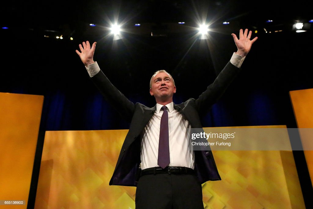 Liberal Democrats party leader, Tim Farron takes the applause after delivering his keynote speech to party members on the last day of the Liberal Democrats spring conference at York Barbican on March 19, 2017 in York, England. Lib Dem leader Tim Farron said that the Liberal Democrats are the 'real opposition' to Prime Minister Theresa May and the Lib Dems are the 'only party in British politics opposed to a hard Brexit'.