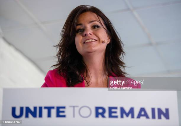 Liberal Democrats politician Heidi Allen speaks at a press conference announcing a 'remain alliance pact' with the Liberal Democrats Green and Plaid...