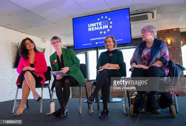 Liberal Democrats politician Heidi Allen with Green Party MEP Molly Scott Cato Plaid Cymru MP Liz SavilleRoberts and President of the UK Liberal...