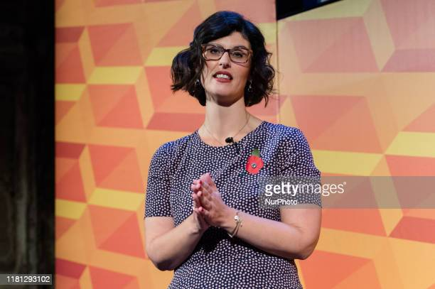 Liberal Democrats Shadow Education Secretary Layla Moran addresses supporters during Rally for the Future at Battersea Arts Centre on 09 November...