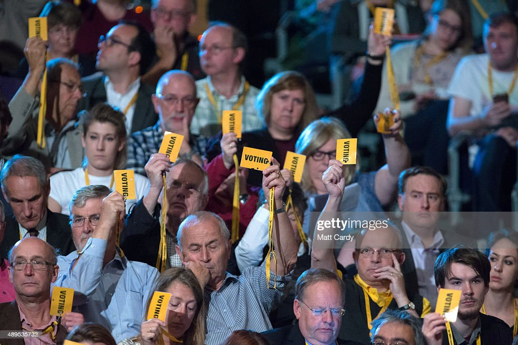 Liberal Democrats vote on the fourth day of the Liberal Democrats annual conference on September 22, 2015 in Bournemouth, England. The Liberal Democrats are currently holding their annual conference using the hashtag #LibDemfightback in Bournemouth. The conference is the first since the party lost all but eight of its MPs in May's UK general election, however after gaining 20,000 new members since May the party is expecting a record attendance at the event being held at the Bournemouth International Centre.