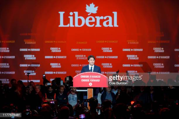 Liberal Leader and Canadian Prime Minister Justin Trudeau delivers his victory speech at his election night headquarters on October 21, 2019 in...