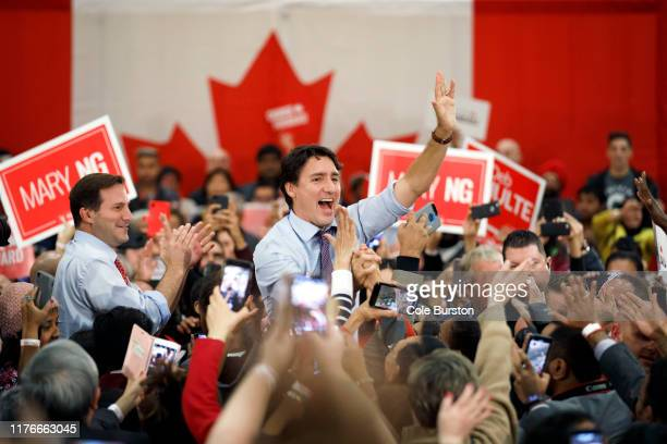 Liberal Leader and Canadian Prime Minister Justin Trudeau greets supporters as he takes part in a campaign rally ahead the federal election, on...
