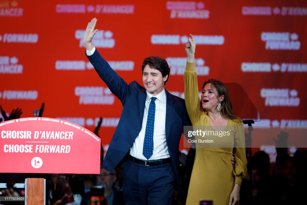 Prime Minister Justin Trudeau Holds Election Night Watch Party In Montreal : News Photo