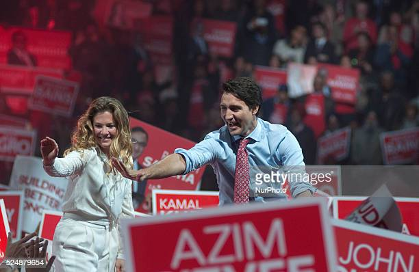 Liberal Leader Justin Trudeau attended an election rally in the city of Brampton near Toronto, Canada on 4th October 2015. Thousands of Canadian...