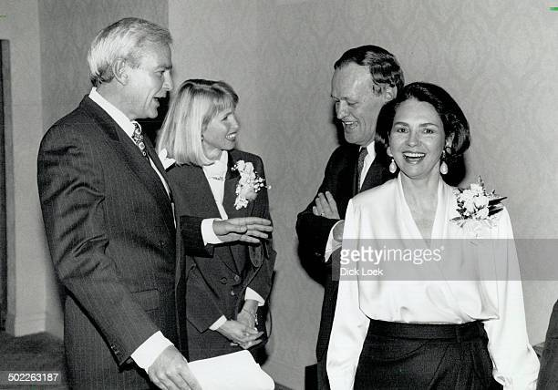 Liberal line-up: Former Ontario premier David Peterson and wife Shelley chat with Liberal Leader Jean Chretien and wife Aline at Sheraton Centre last...