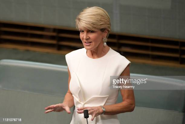Liberal MP Julie Bishop announces she will not re contest her seat of Curtin in the next election at Parliament House on February 21 2019 in Canberra...
