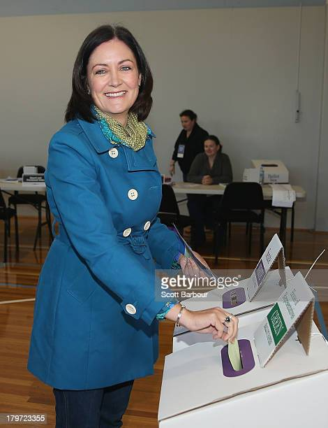 Liberal Party candidate Sarah Henderson votes at Colac Primary School in the electorate of Corangamite on election day on September 7 2013 in Colac...