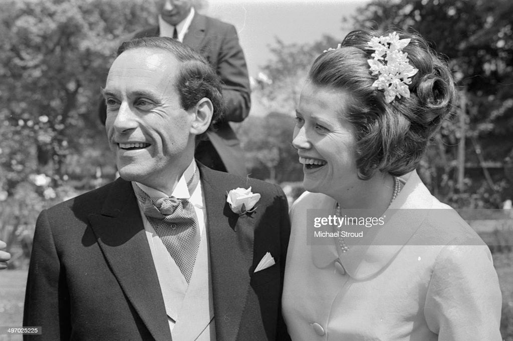 Liberal Party Leader Jeremy Thorpe and his bride Caroline Allpass at their wedding, in the gardens of Lambeth Palace, London, May 1968.
