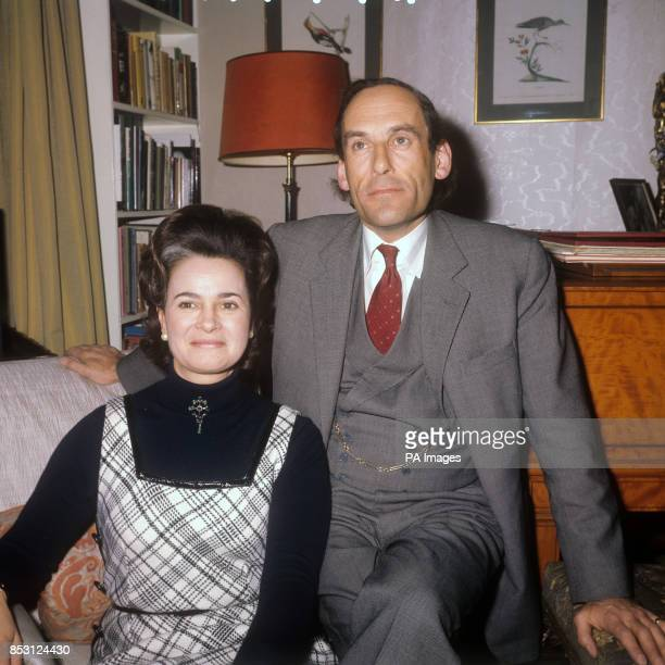 Liberal Party leader Jeremy Thorpe and his fiancee Marion Stein Countess of Harewood at his Westminster flat in London