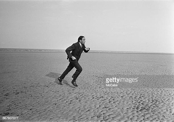 Liberal Party leader Jeremy Thorpe running on Blackpool beach, 21st September 1967.