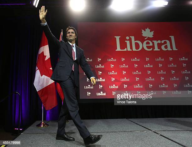 Liberal Party Leader Justin Trudeau enters the stage to give a speech at the Hilton/Toronto Markham Suites