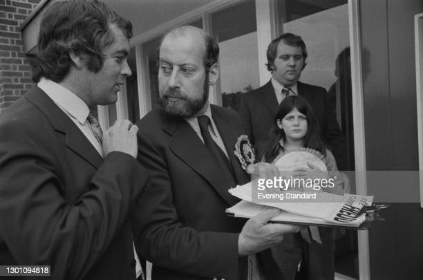 Liberal Party politician Clement Freud stands as the Liberal Party candidate in the Isle of Ely by-election, UK, 24th July 1973. On the left is...