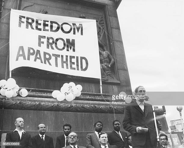 Liberal Party politician Jeremy Thorpe speaking at an anti-apartheid freedom rally in Trafalgar Square, London, June 27th 1965.