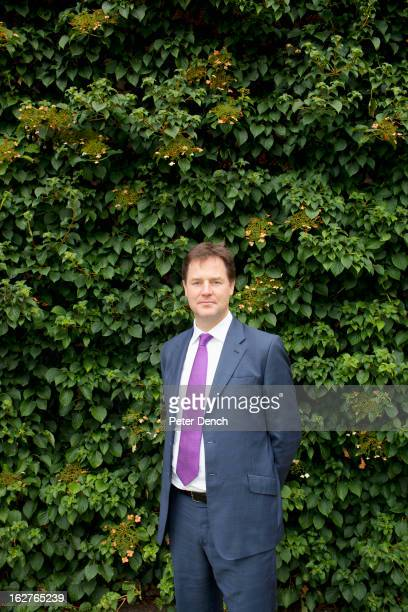 Liberal party politician Nick Clegg is photographed for the Financial Times on September 11 2012 in Cambridge Cambridgeshire