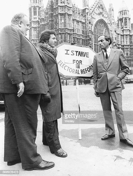 Liberal Party politicians Cyril Smith John Campbell and Jeremy Thorpe outside the House of Commons where Campbell will discuss his hunger strike in...