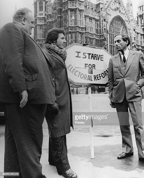 Liberal Party politicians Cyril Smith John Campbell and Jeremy Thorpe talking outside the House of Commons where Campbell is to discuss his hunger...
