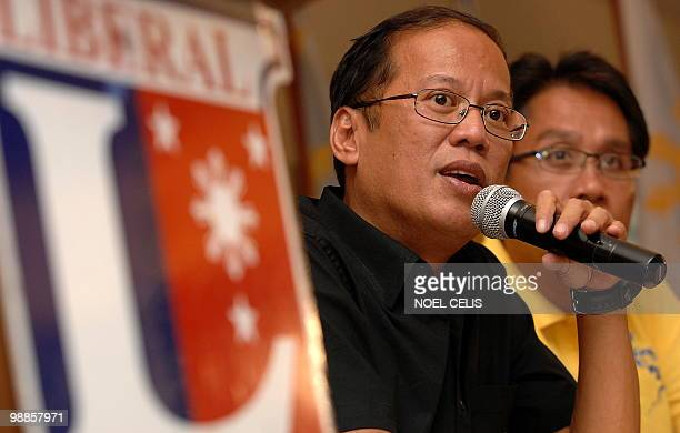 Liberal Party standard bearer Benigno 'Noynoy' Aquino son of democracy icon Corazon Aquino with his running mate Manuel Roxas answers a question...