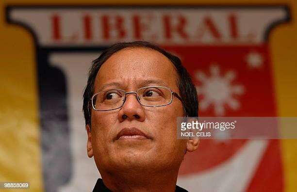 Liberal Party standard bearer Benigno 'Noynoy' Aquino son of democracy icon Corazon Aquino listens to a question during a press conference in Quezon...