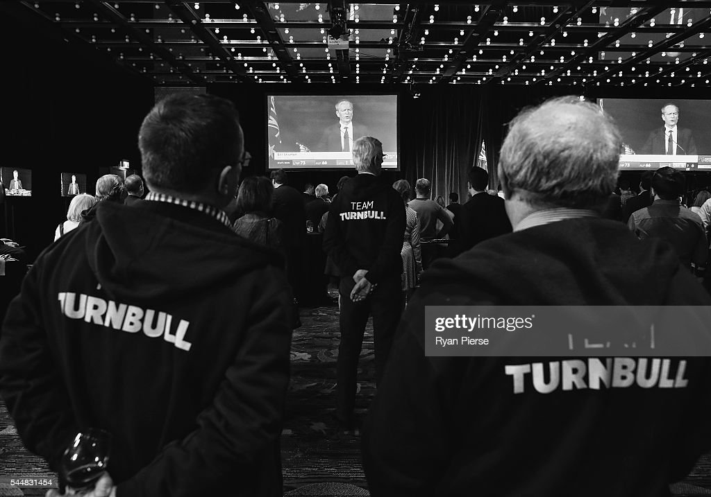 This image was processed using digital filters) Liberal party supporters watch on at Labor leader Bill Shorten speaks in Melbourne at Sofitel Wentworth on July 2, 2016 in Sydney, Australia. With results too close to call after a marathon eight-week campaign, no outright winner has been announced as yet.