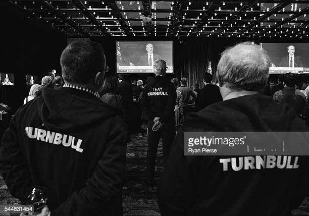 This image was processed using digital filters Liberal party supporters watch on at Labor leader Bill Shorten speaks in Melbourne at Sofitel...