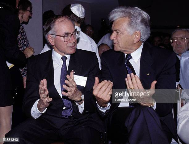 Liberal politician John Howard and Australian Prime Minister Bob Hawke have an animated conversation at the Jewish history museum official opening...