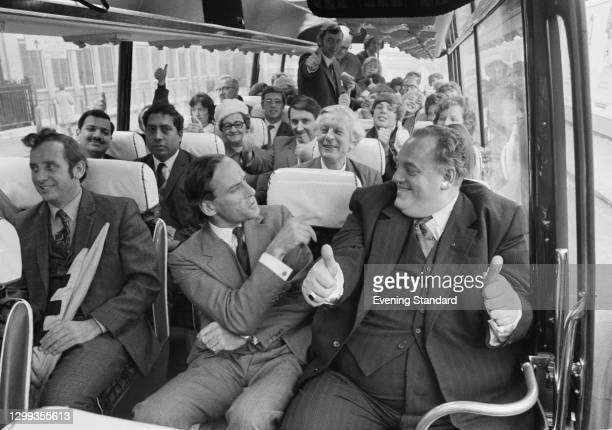 Liberal politicians Jeremy Thorpe , centre and Cyril Smith on a coach in London, UK, 2nd November 1972. Smith, the new MP for Rochdale, has just...