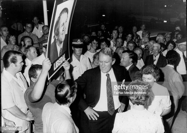 Liberals launch Lowe bi-election campaign.Fraser talks to one of the constituents Phil Taylor is just behind. February 22, 1982. .