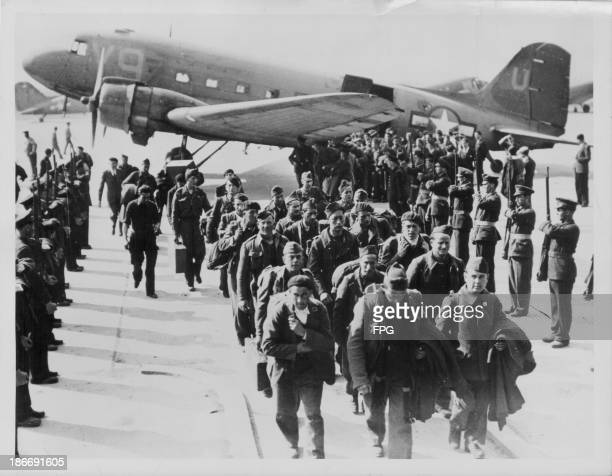 Liberated French prisoners of war returning to Paris following the Second World War Le Bourget Airport France circa 19441945