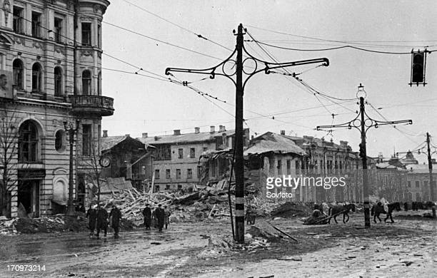Liberated kharkov in february 1943 germans barbarously destroyed the city during their retreat