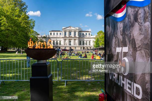 A liberation fire is seen in Haarlemmerhout park at Liberation Day on May 5 2020 in Haarlem Netherlands This year is has been exactly 75 years since...