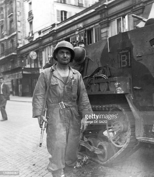 Liberation In Paris, France In August, 1944 - A soldier with a tank unit belonging to Leclerc's division posted on rue du Renard in the forth...