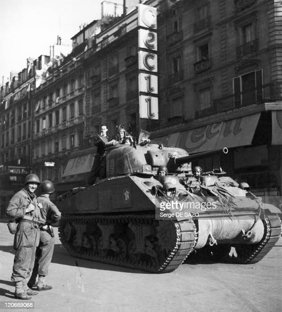 Liberation In Paris, France On August 25, 1944 - A tank from Leclerc's division arriving at the Hotel de Ville during the liberation.
