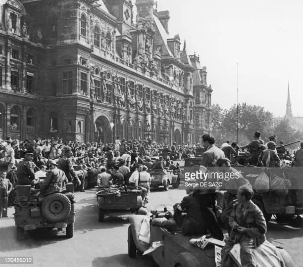 Liberation In Paris, France On August 26, 1944 - De Gaulle and his escort arriving before the Hotel de Ville during the liberation.