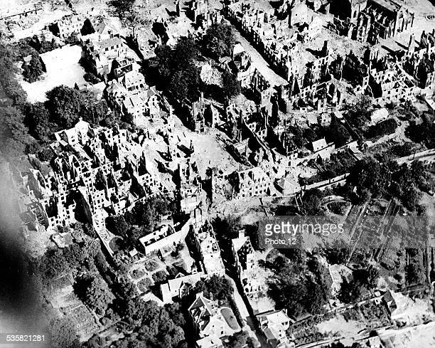Liberation of France Aerial view of Vire after the liberation Normandy August 7 France Second World War war National archives Washington