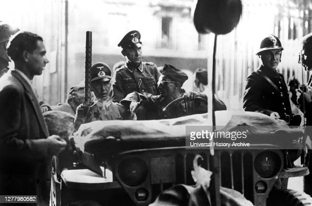 Liberation of Paris, 25 August 1944. A jeep of the French 12th Regiment of Cuirassiers taking two German officers to surrender negotiations. Hitler...
